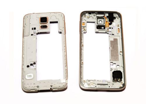 dedd4a327cc Carcasa Intermedia Dorada Original + Buffer para Samsung Galaxy S5